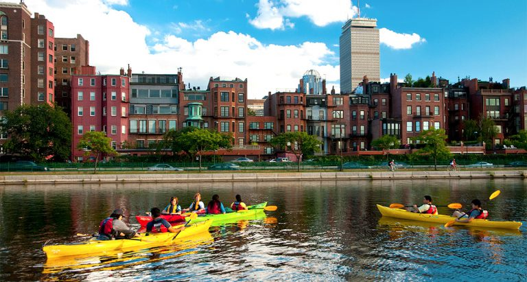 Paddling the Charles with friends in the downtown area