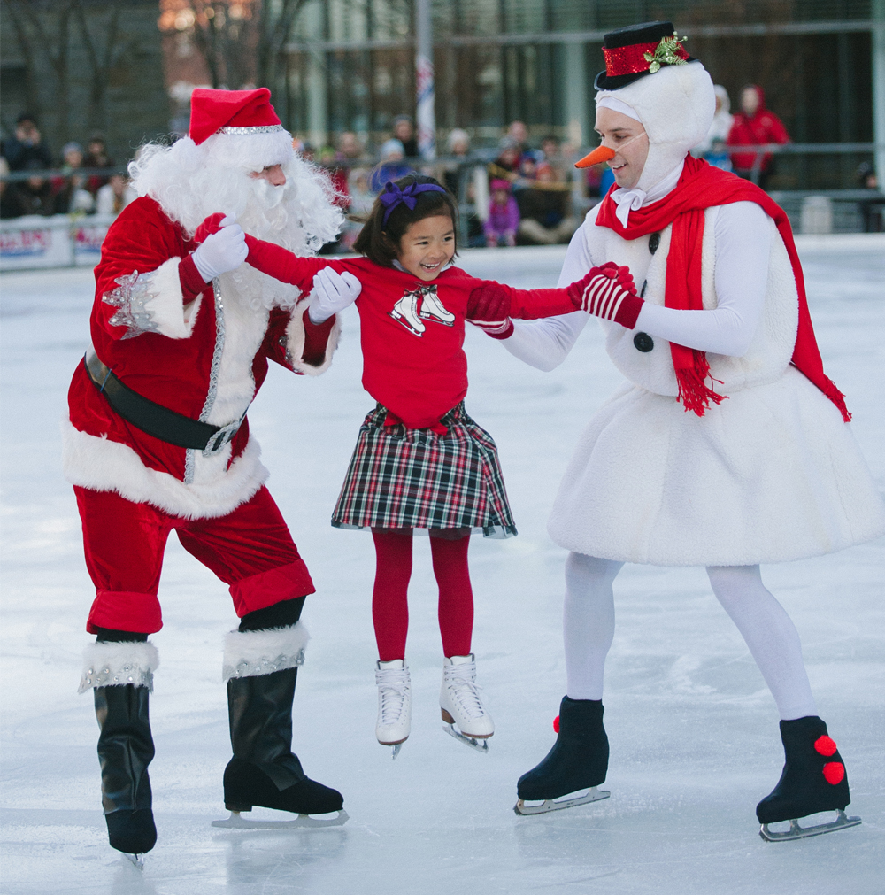 Holiday on Ice poster of Santa and Frosty skating with a young