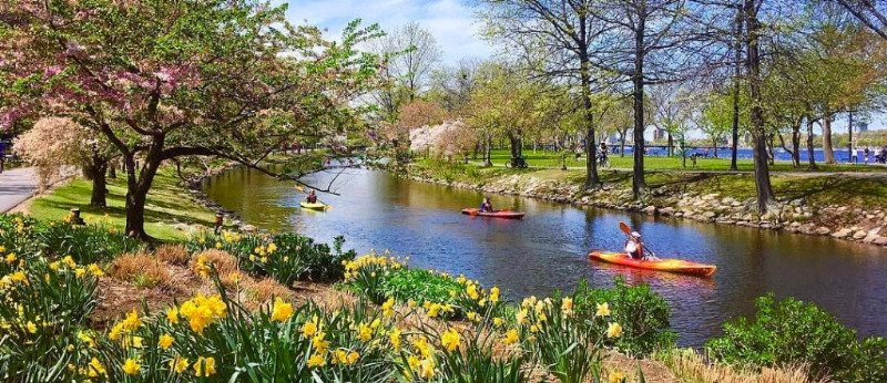 Spring kayaking on Boston