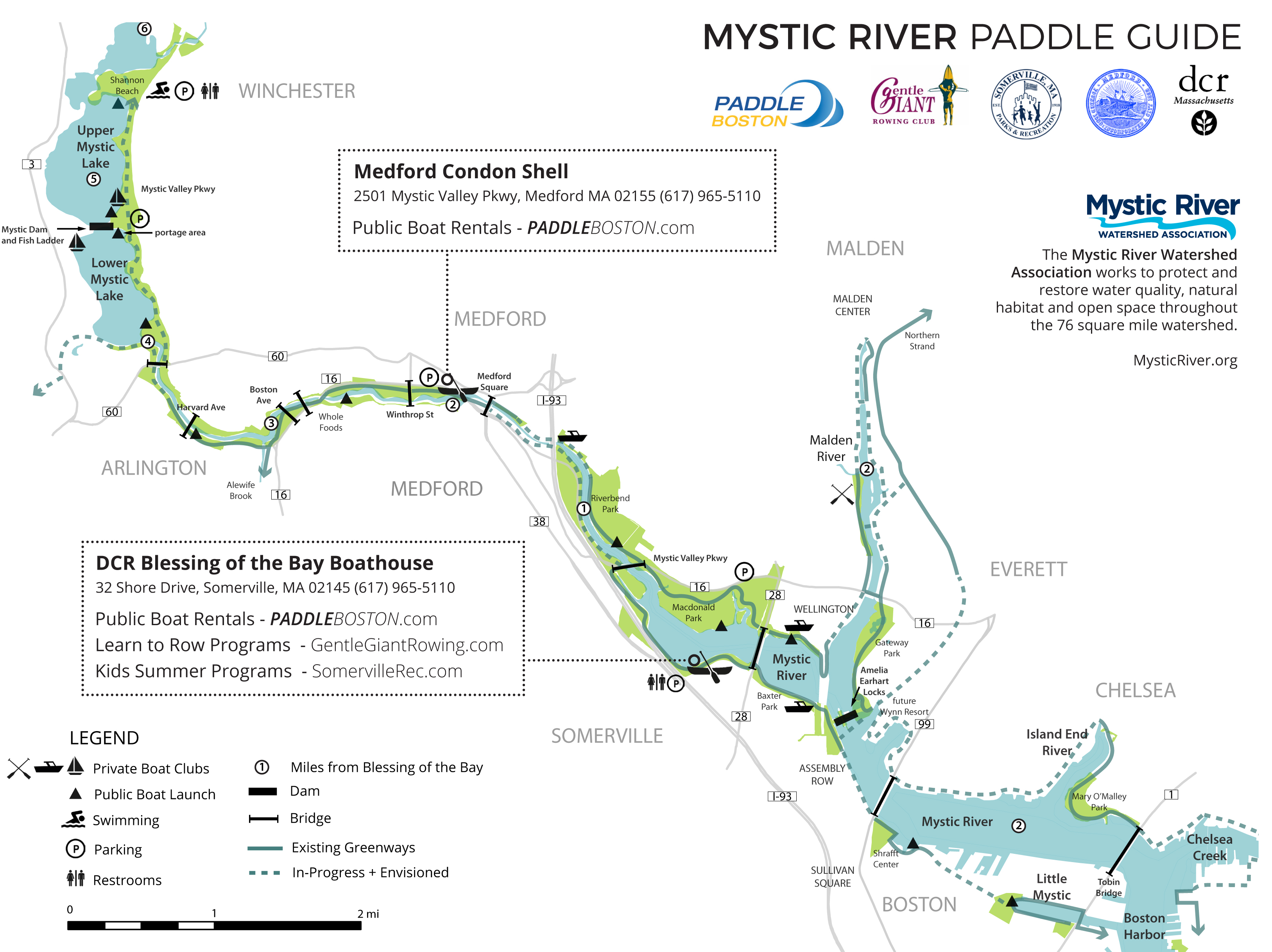 Mystic River Paddling Map