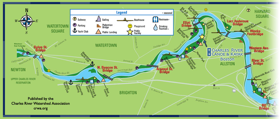 Paddle Boston - Charles River Canoe & Kayak :: Sales, Rentals, Trips on western pacific map, cricket map, netflix map,